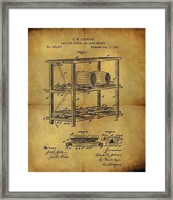 1882 Whiskey Barrel Rack Framed Print
