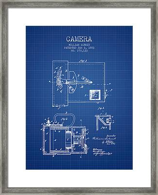 1883 Camera Patent - Blueprint Framed Print by Aged Pixel