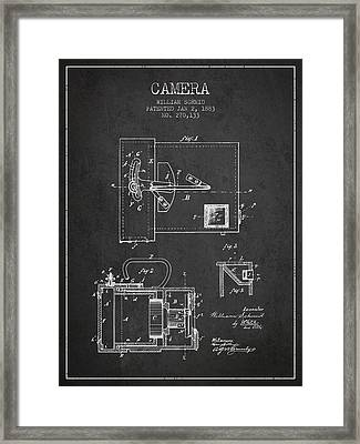 1883 Camera Patent - Charcoal Framed Print by Aged Pixel