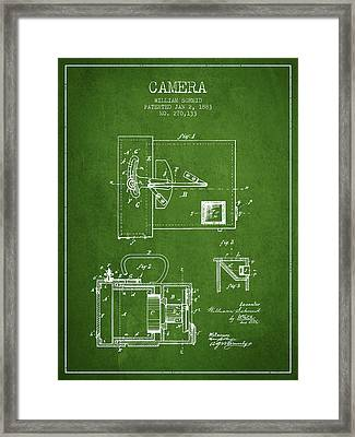 1883 Camera Patent - Green Framed Print by Aged Pixel