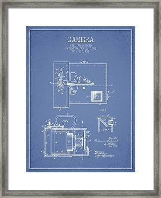 1883 Camera Patent - Light Blue Framed Print by Aged Pixel