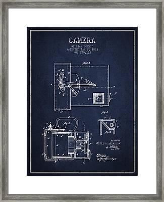1883 Camera Patent - Navy Blue Framed Print by Aged Pixel