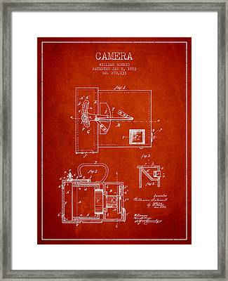 1883 Camera Patent - Red Framed Print by Aged Pixel