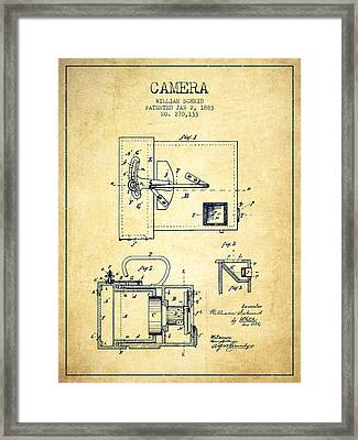 1883 Camera Patent - Vintage Framed Print by Aged Pixel