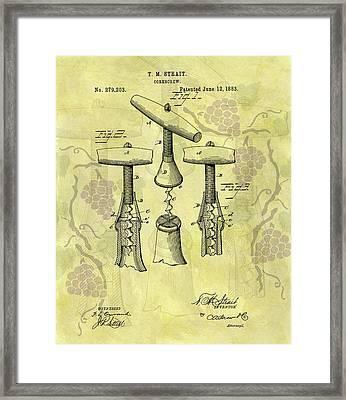 1883 Corkscrew Patent Art Framed Print