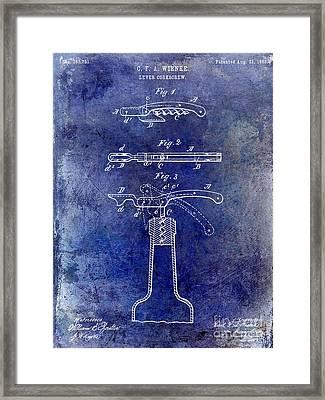 1883 Corkscrew Patent Blue Framed Print