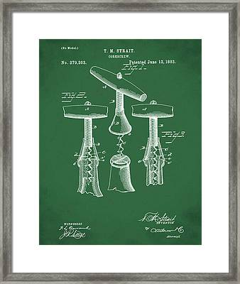 1883 Corkscrew Patent In Green Framed Print by Bill Cannon