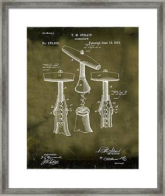 1883 Corkscrew Patent In Grunge Framed Print by Bill Cannon