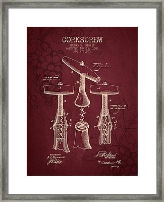 1883 Corkscrew Patent - Red Wine Framed Print by Aged Pixel