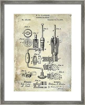 1883 Drill Patent Framed Print by Jon Neidert