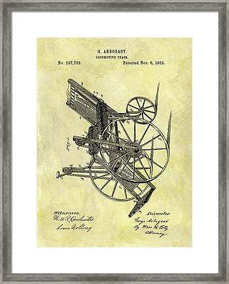 1883 Wheelchair Patent Framed Print by Dan Sproul