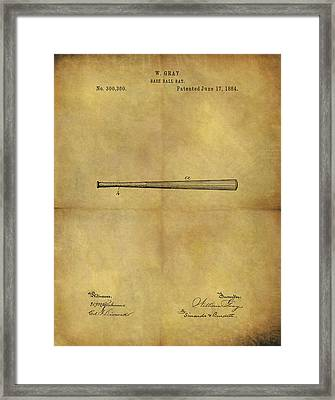 1884 Baseball Bat Illustration Framed Print by Dan Sproul