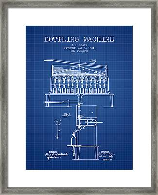 1884 Bottling Machine Patent - Blueprint Framed Print by Aged Pixel