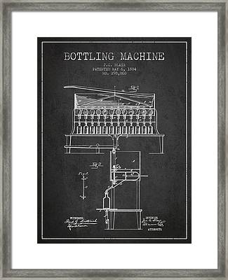 1884 Bottling Machine Patent - Charcoal Framed Print by Aged Pixel