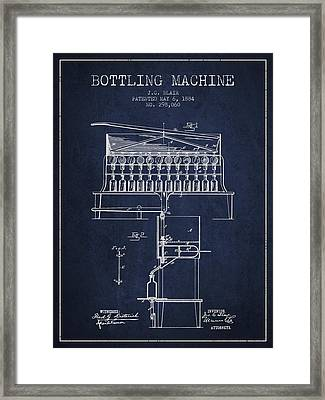 1884 Bottling Machine Patent - Navy Blue Framed Print