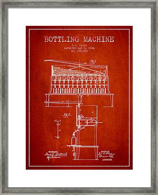 1884 Bottling Machine Patent - Red Framed Print by Aged Pixel