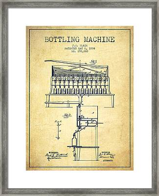 1884 Bottling Machine Patent - Vintage Framed Print by Aged Pixel