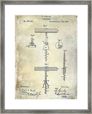 1884 Corkscrew Patent Framed Print