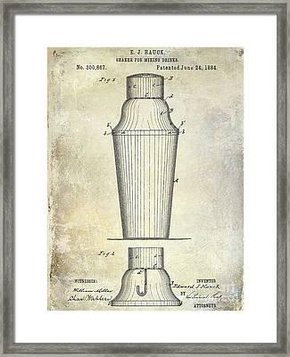 1884 Drink Shaker Patent Framed Print by Jon Neidert