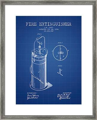 1884 Fire Extinguisher Patent - Blueprint Framed Print by Aged Pixel