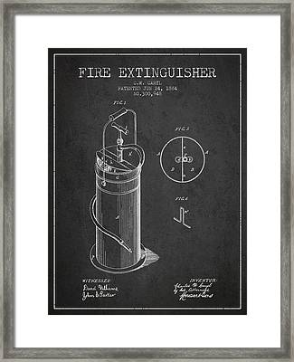 1884 Fire Extinguisher Patent - Charcoal Framed Print by Aged Pixel