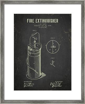 1884 Fire Extinguisher Patent - Dark Grunge Framed Print by Aged Pixel