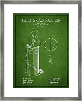 1884 Fire Extinguisher Patent - Green Framed Print by Aged Pixel