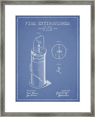 1884 Fire Extinguisher Patent - Light Blue Framed Print by Aged Pixel
