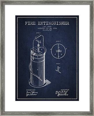 1884 Fire Extinguisher Patent - Navy Blue Framed Print by Aged Pixel