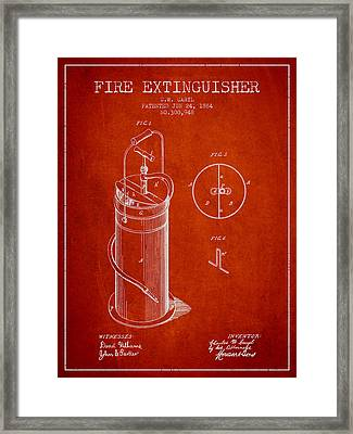 1884 Fire Extinguisher Patent - Red Framed Print