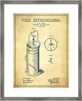 1884 Fire Extinguisher Patent - Vintage Framed Print by Aged Pixel