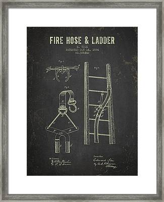 1884 Fire Hose And Ladder Patent- Dark Grunge Framed Print by Aged Pixel