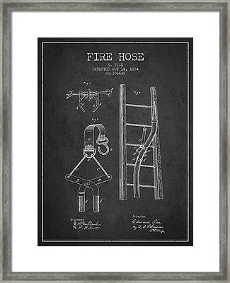 1884 Fire Hose Patent - Charcoal Framed Print by Aged Pixel