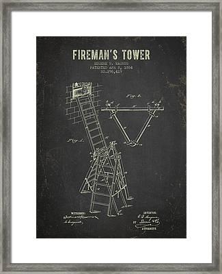 1884 Firemans Tower - Dark Grunge Framed Print