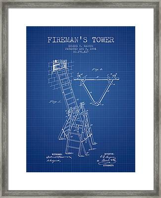 1884 Firemans Tower Patent - Blueprint Framed Print by Aged Pixel