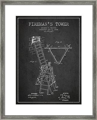 1884 Firemans Tower Patent - Charcoal Framed Print by Aged Pixel