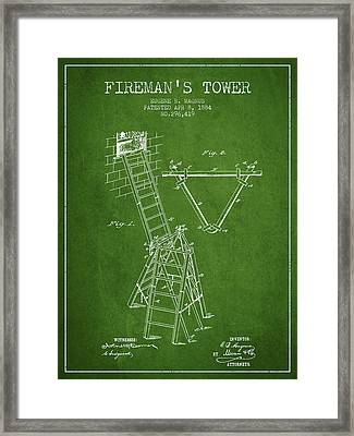 1884 Firemans Tower Patent - Green Framed Print by Aged Pixel