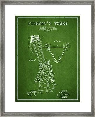 1884 Firemans Tower Patent - Green Framed Print