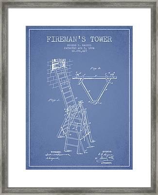 1884 Firemans Tower Patent - Light Blue Framed Print