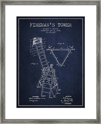 1884 Firemans Tower Patent - Navy Blue Framed Print by Aged Pixel