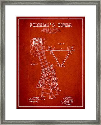 1884 Firemans Tower Patent - Red Framed Print by Aged Pixel