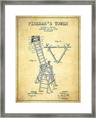 1884 Firemans Tower Patent - Vintage Framed Print