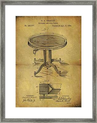 1884 Pool Table Patent Framed Print
