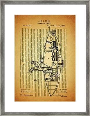 1884 Submarine Ship Patent Framed Print