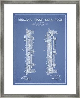 1885 Bank Safe Door Patent - Light Blue Framed Print by Aged Pixel