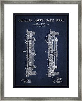 1885 Bank Safe Door Patent - Navy Blue Framed Print by Aged Pixel