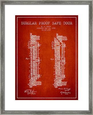 1885 Bank Safe Door Patent - Red Framed Print by Aged Pixel