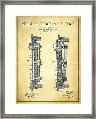 1885 Bank Safe Door Patent - Vintage Framed Print by Aged Pixel
