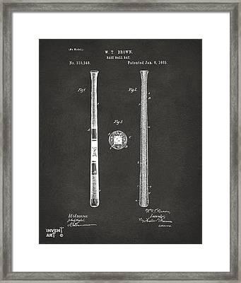 1885 Baseball Bat Patent Artwork - Gray Framed Print by Nikki Marie Smith