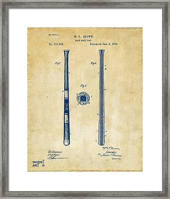 1885 Baseball Bat Patent Artwork - Vintage Framed Print by Nikki Marie Smith